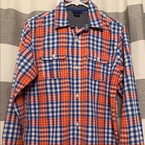 Boys Gap Kids Plaid Blue Orange Button Down Shirt